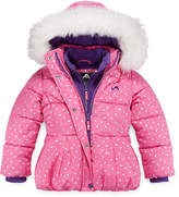 Asstd National Brand Vertical 9 Dot Puffer Vestee Jacket - Girls