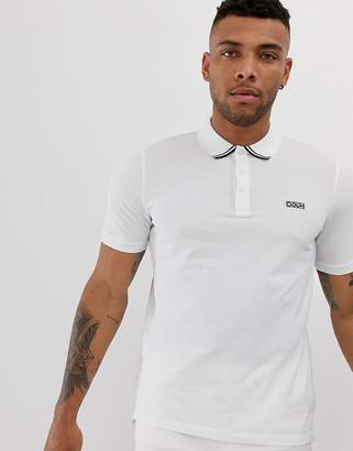 HUGO Dyler tipped logo polo in white
