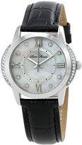 Lucien Piccard Black & Mother-of-Pearl Dalida Leather-Strap Watch - Women