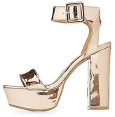 Charlotte Russe Qupid Metallic Two-Piece Platform Sandals