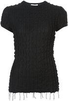 Helmut Lang frill detail and fringe hem blouse
