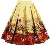 Wellwits Women's Print Vintage Midi Pleated Skirt Black S