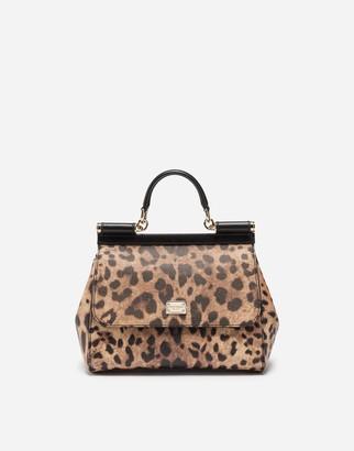 Dolce & Gabbana Medium Sicily Bag In Leopard Textured Leather