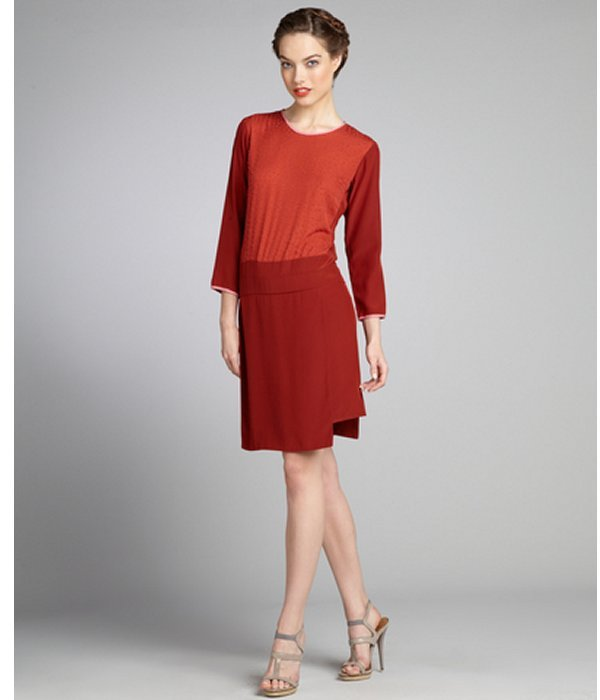 Cynthia Rowley burnt orange silk embellished three quarter sleeve dress