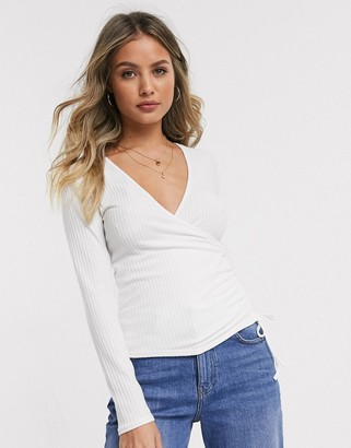 New Look wrap ruched top in off white