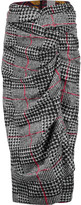 Stella Jean Twist-front checked felt skirt