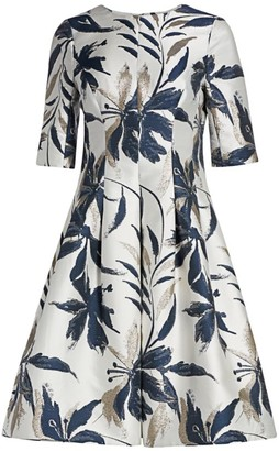 Teri Jon By Rickie Freeman Leaf-Print Jacquard Dress