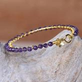 Amethyst Gold Plated Beaded Bangle Bracelet from Thailand, 'Garden Vine in Purple'