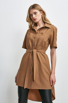 Karen Millen Polished Stretch Wool Blend Shirt Dress