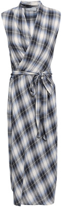 Vince Checked Cotton-blend Flannel Wrap Dress