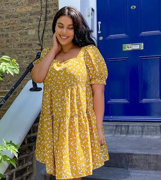 Fashion Union Plus mini smock dress in retro floral organza
