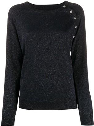 Zadig & Voltaire Crystal-Button Metallic Sweater