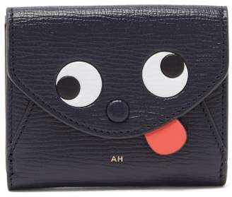 Anya Hindmarch Zany Eyes Mini Grained-leather Wallet - Womens - Navy Multi