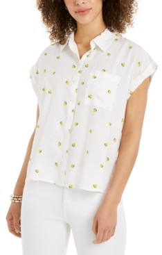 Style&Co. Style & Co Petite Lemon-Print Camp Shirt, Created for Macy's