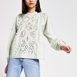 River Island Green cutout embroidered long sleeve top