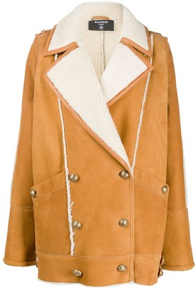 Balmain Shearling Double-Breasted Short Coat