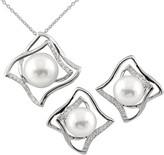 Splendid Pearls Rhodium Plated Silver 7.5-8Mm Freshwater Pearl & Cz Drop Earrings & Necklace Set