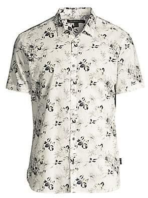 John Varvatos Men's Jasper Floral Print Linen-Blend Short-Sleeve Shirt