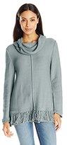 Pure Handknit Women's Bold Fringe Turtleneck Sweater