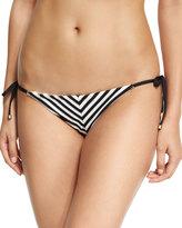 Vitamin A Natalie Mitered Striped Tie-Side Swim Bottom, Black/White
