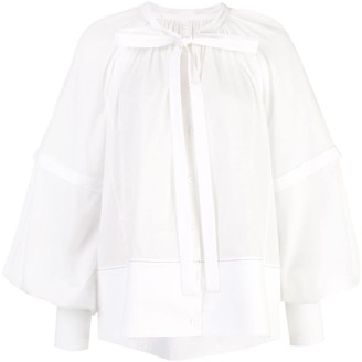 Proenza Schouler L/S Gathered Top-Cotton Voile