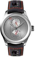Raidillon Racing Men's Automatic Watch with Silver Dial Analogue Display and Black Leather Strap 42-J10-088