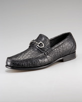 Salvatore Ferragamo Crocodile Bit Loafer, Black