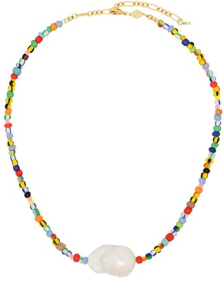 Anni Lu 18kt gold-plated Alaia rainbow beaded pearl necklace