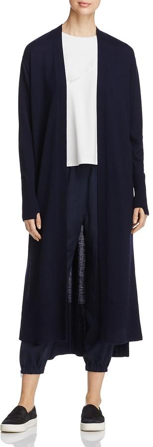 DKNY Shawl Collar Open Front Wool Cardigan
