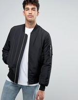 Asos Bomber Jacket With Ma1 Pocket In Black