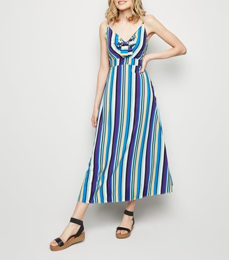 New Look Brave Soul Stripe Tie Front Maxi Dress