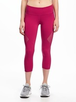 Old Navy Go-Dry Mid-Rise Compression Mesh-Panel Crops for Women