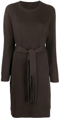 Luisa Cerano Ribbed-Knit Tie-Waist Dress
