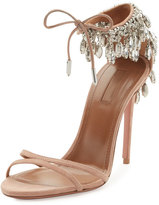 Aquazzura Eden Crystal-Embellished Sandal, Powder Pink