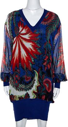 Roberto Cavalli Blue Abstract Print Silk Sweater Dress L