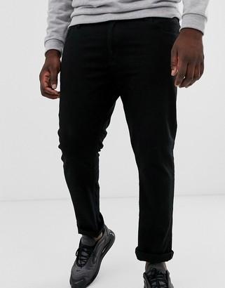 Burton Menswear Big & Tall trousers in black with white side stripe