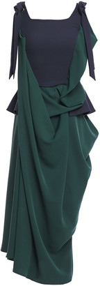 Chalayan Gathered Draped Two-tone Crepe And Cady Dress