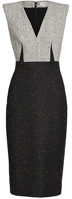 Alexander McQueen Bi-Color V-Neck Sheath Dress