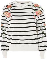 Topshop Embroidered Stripe Sweatshirt
