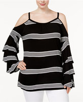 INC International Concepts Plus Size Striped Off-The-Shoulder Top, Only at Macy's