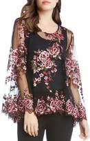 Karen Kane Floral Embroidered Mesh Top
