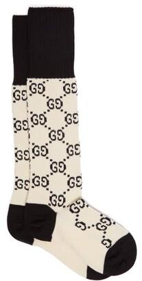 Gucci Gg-intarsia Cotton-blend Knee-high Socks - Womens - Ivory Multi