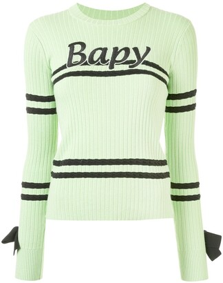 BAPY BY *A BATHING APE® Bow Detail Ribbed Knit Sweater