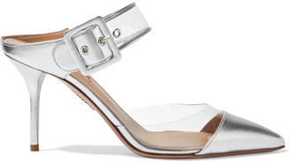 Aquazzura Optic 85 Buckled Metallic Leather And Pvc Mules