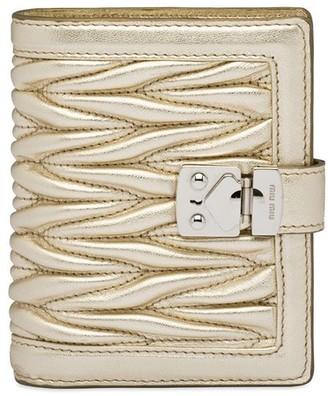 Miu Miu matelassé Lock metallic leather wallet