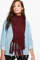 Boohoo Zoe Chunky Knit Tassel Edge Scarf