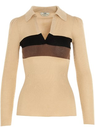 Fendi V-Neck Polo Knit Sweater