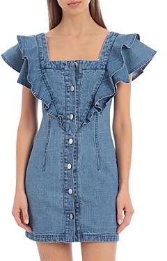 AVEC LES FILLES Ruffled Denim Mini Dress