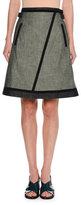 Tomas Maier Taped Denim A-Line Skirt, Navy