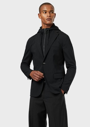 Emporio Armani Technical Wool Jacket With Detachable Insert